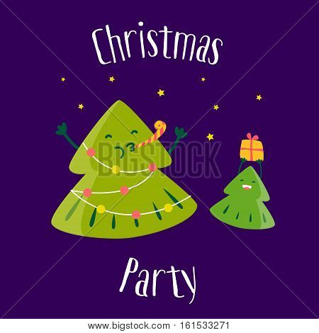 Fun Christmas tree with little tree. Christmas party. Greeting card. Vector illustration.