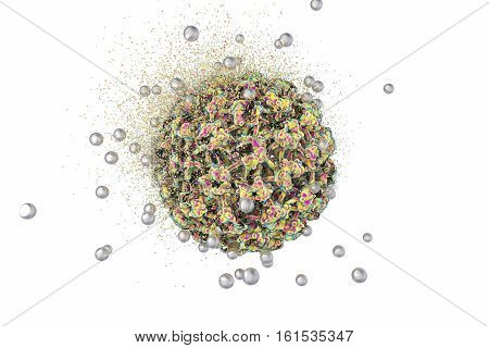Destruction of Human Papillomavirus by silver nanoparticles, 3D illustration. Concept for Papillomavirus treatment and prevention. HPV is a virus which causes warts and cervical cancer
