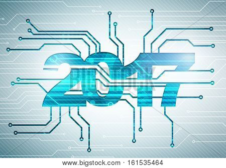 abstract digital background with happy new 2017 year microchip technology concept