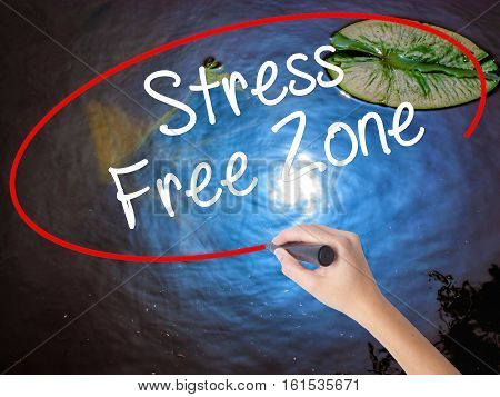 Woman Hand Writing Stress Free Zone With Marker Over Transparent Board