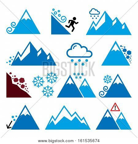 Mountains, avalanche, snowslide- natural disaster icons set