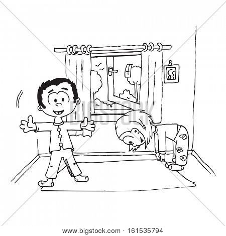 boy and girl morning exercise cartoon illustration