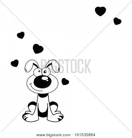 cute puppy valentine note with hearts isolated on white