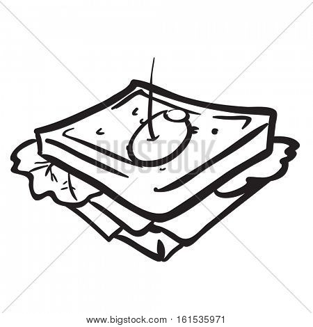 black and white sandwich cartoon illustration