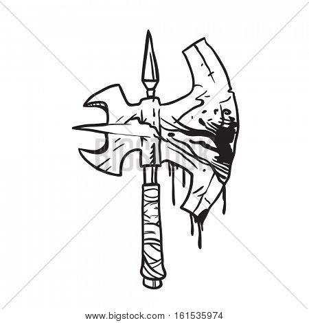 black and white bloody axe carrtoon illustration