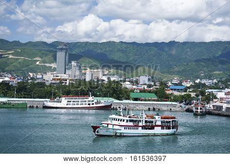 Cebu Philippines -Oct 28 2008: Passenger Ferries at the port of cebu seaport cebu city in the Philippines. The busy port of cebu has ferry routes to most islands in the philippines due to its central location.