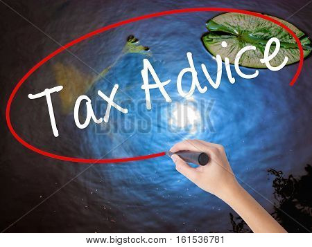 Woman Hand Writing Tax Advice With Marker Over Transparent Board