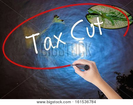 Woman Hand Writing Tax Cut With Marker Over Transparent Board