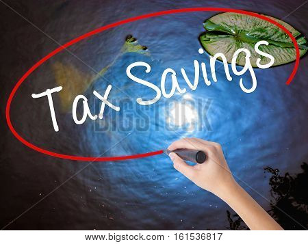 Woman Hand Writing Tax Savings With Marker Over Transparent Board