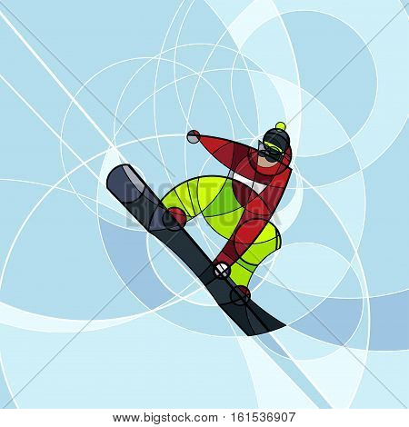 Vector illustration snowboarder in red and green dress on blue background. abstract image made with circles. winter sport