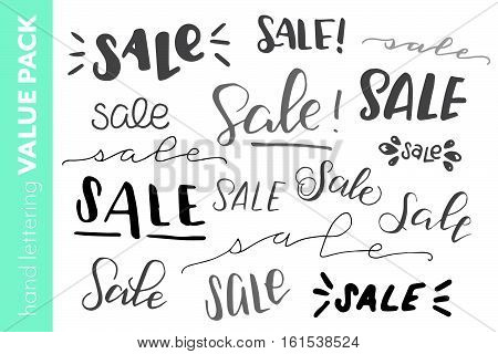 Hand lettered sale value pack. Multiple handwritten promotion for small businesses. Variety of vector illustrations. Promotional sales sampler package.