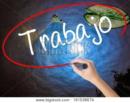 Woman Hand Writing Trabajo  ( Work In Spanish) With Marker Over Transparent Board