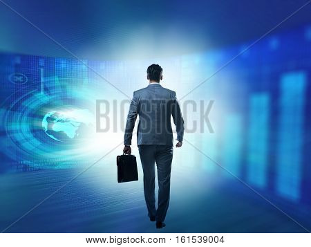 Businessman walking away from the camera