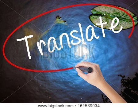 Woman Hand Writing Translate With Marker Over Transparent Board