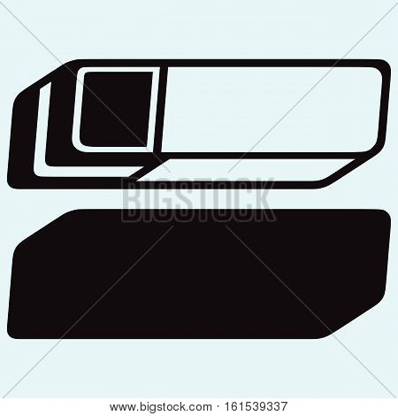 Eraser. Stationery office tools. Isolated on blue background. Vector silhouettes