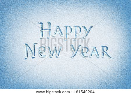 Happy New Year! Background of fresh snow texture in blue tone. High resolution product top view
