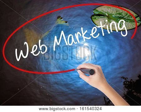 Woman Hand Writing Web Marketing With Marker Over Transparent Board