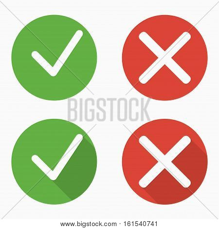 Set of confirm and deny icons with and without shadows in flat style. Green and red. Vector illustration