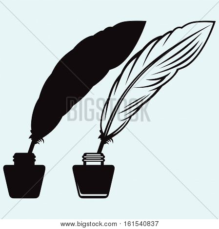 Ancient pen and inkwell. Isolated on blue background. Vector silhouettes