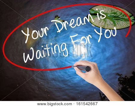 Woman Hand Writing Your Dream Is Waiting For You With Marker Over Transparent Board