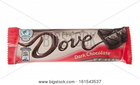ALAMEDA CA - JANUARY 01 2016: One silky smooth Dove Dark Chocolate Candy Bar. Dove is a brand of chocolate made and marketed by the Mars company.