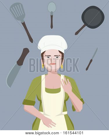 chef woman juggling with cookware - funny vector cartoon illustration
