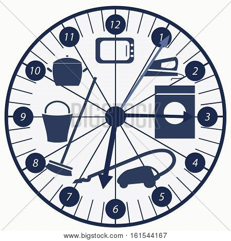 clock with chore background  vector illustration of houskeeping routine