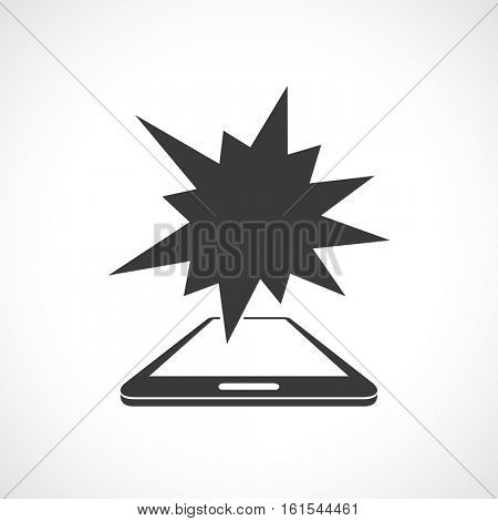 smart phone business icon with splash star banner