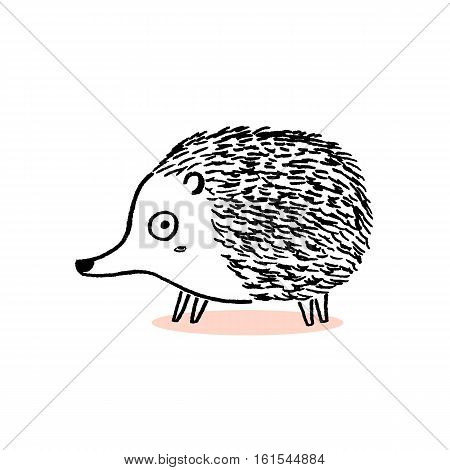 Isolated Hedgehog sketch, hand drawn vector illustration