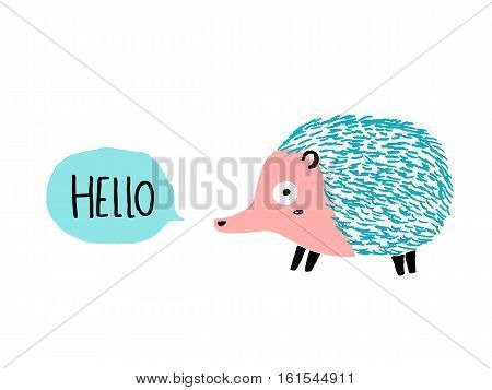 Hello Hedgehog character, hand drawn vector illustration