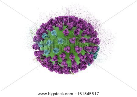 Destruction of Influenza virus, 3D illustration. Concept for flu treatment and prevention