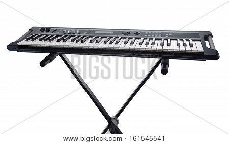 Synthesizer on the rack on white background