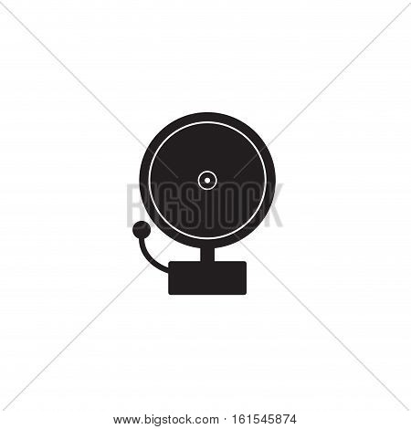Ringing alarm bell. Single silhouette fire equipment icon. Vector illustration. Flat style