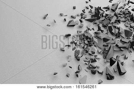 The broken pieces of the object, black white, 3d illustration on a solid sandy background. Excellent desktop