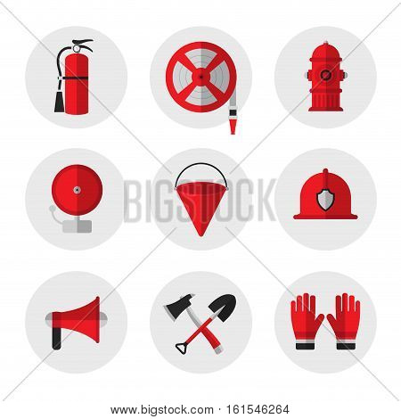 Firefighting and fire safety equipment flat icons. Fire extinguisher hose reel hydrant ringing alarm bell metal fire bucket helmet megaphone shovel and ax gloves. Vector illustration
