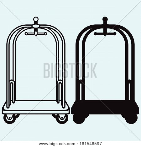 Hotel trolley. Isolated on blue background. Vector silhouettes