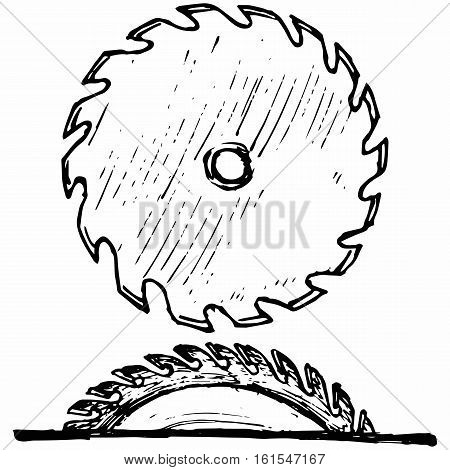 Industrial circular saw disk. Isolated on white background. Vector doodle style