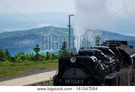 The Old Locomotive On The Brocken Of Harz,germany