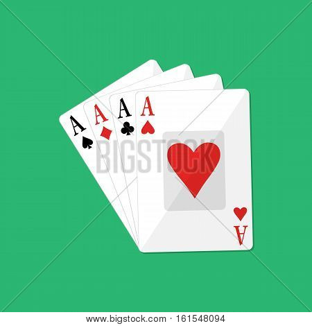 Four aces of poker. Gambling entertainment. card game. vector illustration in flat style on green background