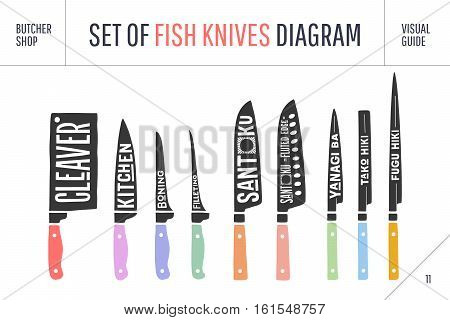 Fish cutting knives set. Poster of Butcher diagram and scheme. Set of fish knives for butcher shop and design butcher theme. Vintage hand-drawn typographic. Vector illustration