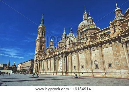 SPAIN SARAGOSSA - September 22.2013: Basilica - Cathedral of Our Lady of Pilar in Zaragoza 1754 on Plaza del Pilar Aragon Spain
