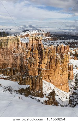 Winter storm clouds and snow at Bryce Canyon National Park in Southern Utah.