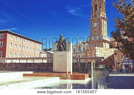 SPAIN SARAGOSSA - September 22.2013: Monument of Goya in front of the Savior Cathedral of Zaragoza Spain