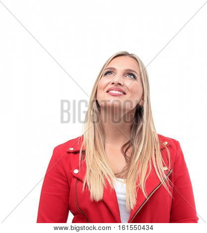 Portrait of businesswoman  looking up isolated on white backgrou