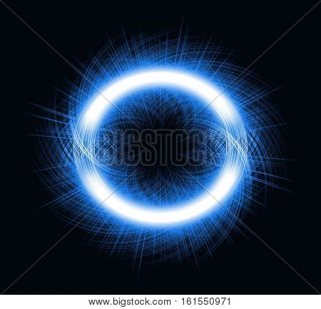 Abstract ring background with luminous swirling backdrop. abstraction on a black background of blue neon lit bars in the form of a circle
