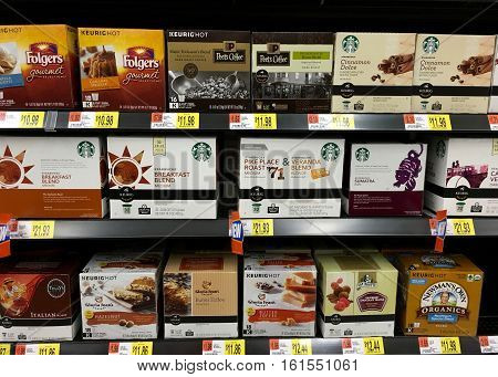 San Leandro CA - April 08 2016: Grocery Store display with multiple K-Cup for Keurig brand coffee makers. Gourmet brands with at home convenience.
