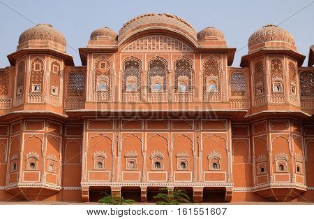 JAIPUR, INDIA - FEBRUARY 16 : Detail of traditional house in Jaipur, Rajasthan, India. Jaipur is the capital and the largest city of Rajasthan on February 16, 2016.
