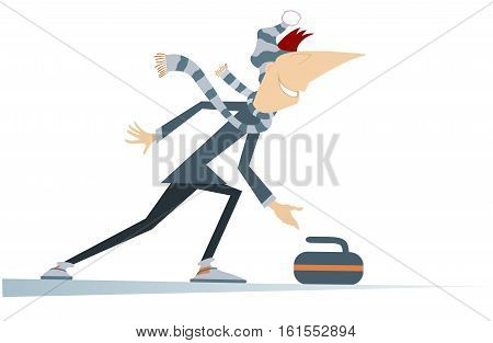 Man plays curling. Cartoon curling player illustration