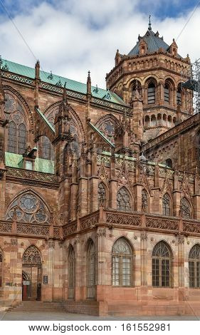 Strasbourg Cathedral also known as Strasbourg Minster is a Gothic Roman Catholic cathedral in Strasbourg Alsace France. View from the south