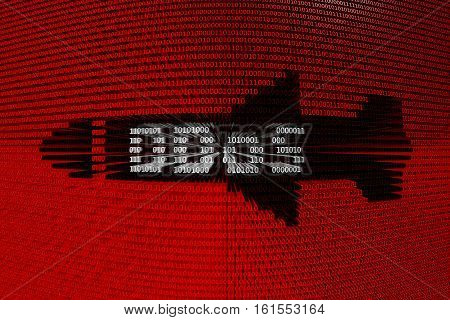 DDoS in the form of missiles in binary code 3D illustration